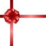 Czerwony wektorowy prezenta łęk, faborek i Zdjęcie Royalty Free