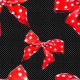 Czerwony wektoru wzoru łęk z polki kropką wektor Fotografia Stock