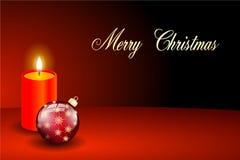Czerwony wesoło kartka bożonarodzeniowa blask świecy Fotografia Royalty Free