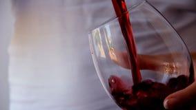 Czerwony winogradu dolewanie w szkło zbiory wideo