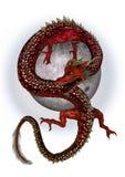Czerwony Wschodni smok ilustracja wektor