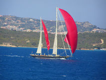 czerwony wypływa jacht Zdjęcie Royalty Free
