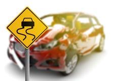 Czerwony wypadek samochodowy z niebezpieczeństwo koloru żółtego znakiem royalty ilustracja