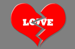 Czerwony złamane serce z Białą miłością na odosobnionym Popielatym tle ilustracji