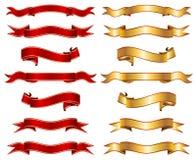 Czerwony & złocisty tasiemkowy sztandar fantazi kolekci set ilustracja wektor