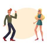 Czerwony z włosami mężczyzna, blond kobiet 1970s stylu odzieżowa dancingowa dyskoteka ilustracja wektor