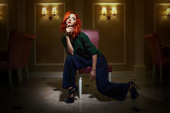 Czerwony z włosami moda model Obrazy Stock