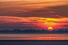 czerwony zachód słońca Zdjęcia Stock