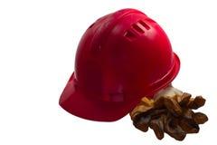 Czerwony zbawczy hełm na białym tle Ciężki kapelusz odizolowywający na whit Zdjęcia Stock