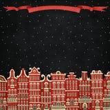 Czerwony zimy miasto ilustracji