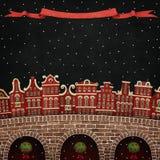 Czerwony zimy miasto ilustracja wektor