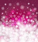 Czerwony zimy tło zamazujący, z opadu śniegu i kopii przestrzenią dla kartki bożonarodzeniowa, Obrazy Royalty Free