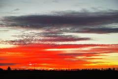 Czerwony zmierzchu nieba abstrakt Zdjęcia Stock