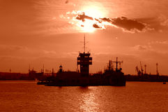 Czerwony zmierzchu port Zdjęcia Stock