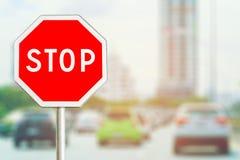 czerwony znak stop Obrazy Royalty Free