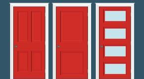 Czerwonych drzwi przy drzwiach zamkniętych ramowy tylko, żadny ściany Czerwoni drzwi ilustracyjni ilustracji