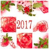 2017 czerwonych faborku i holly kartka z pozdrowieniami Zdjęcie Royalty Free