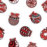 Czerwonych i czarnych Bożenarodzeniowych piłek bezszwowy wzór na białym tle Zdjęcie Royalty Free
