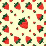 Czerwonych jagod truskawkowy truskawkowy naturalny bezszwowy wzór Fotografia Stock