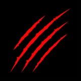 Czerwonych krwistych pazurów narysu szurania zwierzęcy ślad Kota tygrys drapa łapę Cztery gwoździ ślad Śmieszny projekta element  ilustracji