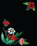 Czerwonych kwiatów ramowy skład Zdjęcia Stock