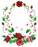 Czerwonych kwiatów ramowy skład Obraz Stock