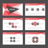 Czerwonych prezentacja szablonu Infographic elementów płaski projekt ustawia dla broszurki ulotki ulotki marketingu Zdjęcia Royalty Free