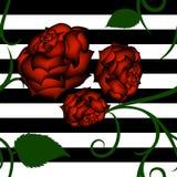 Czerwonych róż bezszwowy wzór z zielonym maswerkiem ilustracja wektor