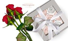 Czerwonych róż bukiet i bezy Wektorowi Realistyczne 3d ilustracje pojedynczy white pudełko prezent ilustracja wektor