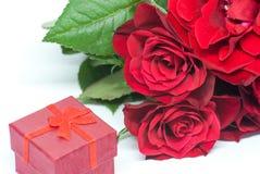 Czerwonych róż bukiet i mały ślubny pierścionek zaręczynowy boksujemy na biel przestrzeni propozyci pojęciu Obrazy Royalty Free