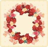 Czerwonych róż wianek ilustracja wektor