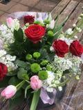 Czerwonych róż menchii tulipanu mieszany bukiet Zdjęcia Royalty Free