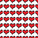 Czerwonych serc bezszwowy wzór na białym tle ilustracja wektor