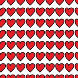 Czerwonych serc bezszwowy wzór na białym tle ilustracji