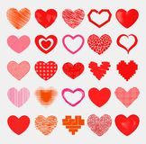 Czerwonych serc ostra prosta czerwona wektorowa ikona Barwi karciany pięknego świętuje jaskrawych emoticon serca symbole serca cz ilustracja wektor