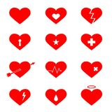 Czerwonych serc płaskie ikony ustawiać ilustracji