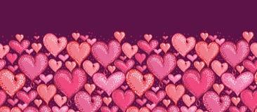 Czerwonych walentynka dnia serc Horyzontalny Bezszwowy ilustracji