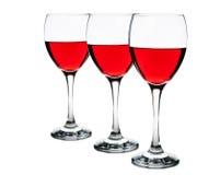 Czerwonych win szkła odizolowywający Obraz Royalty Free