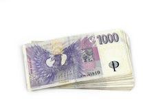 Czescy banknoty, tysiące Fotografia Stock