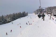 Czeski ośrodek narciarski Spindleruv Mlyn, Medvedin w halnym Krkonose Obraz Stock