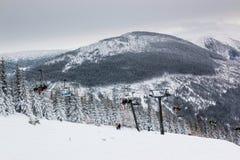 Czeski ośrodek narciarski Spindleruv Mlyn, Medvedin w halnym Krkonose Obrazy Royalty Free