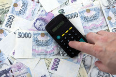 Czeski papierowy pieniądze i księgowość Zdjęcie Stock