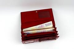 Czeski pieniądze w czerwonym portflu - tysiąc Obraz Stock