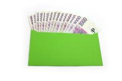 Czeski pieniądze w zielonej kopercie Fotografia Stock