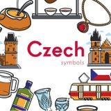 Czeski symbolu promo plakat z architekturą i obywatel kuchnią ilustracji
