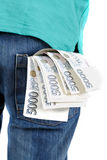 Czeskich banknotów nominalna wartość pięć tysięcy w kieszeni Zdjęcia Stock