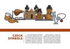 Czeskich symboli/lów pouczający Internetowy sztandar z próbka tekstem ilustracji