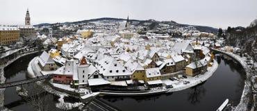 Czesky Krumlov im Schnee Stockfoto