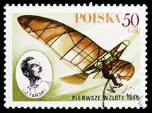 Czeslaw Tanski, 1896, Polish Sport Planes serie, circa 1978. MOSCOW, RUSSIA - OCTOBER 6, 2018: A stamp printed in Poland shows Czeslaw Tanski, 1896, Polish Sport stock photography