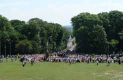 Czestochowa Abbey Hill. A view from Czestochowa Abbey hill down onto the crowds of people who came to worship and watch the famous annual Corpus Christi Stock Photography